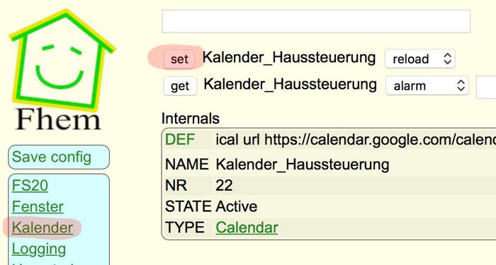 FHEM Kalender reload