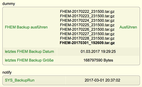 FHEM Autobackup Size Date